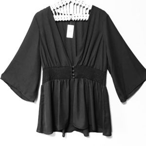 Torrid Button Front Smocked Babydoll Blouse
